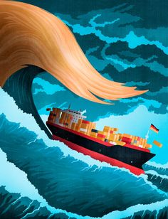 Trump wave threatening German export - Cover illustration for Handelsblatt ©Benedetto Cristofani, all right reserved #trump #germany #export #economy #illustration #editorial #editorialillustration #conceptual #conceptualillustration #graphic #graphicdesign