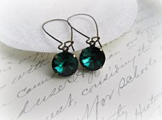 Emerald Green Long Kidney Style earrings by HappyTearsbyMicah, $13.00