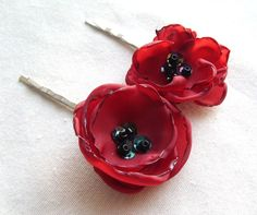 Red Poppy Flower Bobby Pin Floral Hair Accessories Cherry Red Flower Hair Pin Summer Floral Hair Clip Bridesmaid Hair Accessory Flower Girl