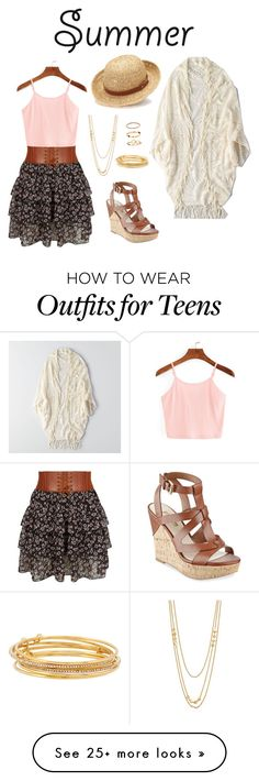 """""""Casual 5"""" by cassady-troyer on Polyvore featuring New Look, GUESS, American Eagle Outfitters, Chaps, Kate Spade, Gorjana and Floralskirts"""
