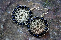 Black And Gold Wire Mesh Crochet Earrings by nZuriArtDesigns