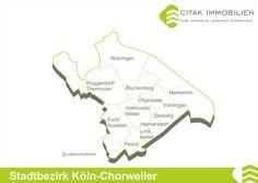 """Chorweiler liegt inmitten von Grünflächen und grenzt an die Stadtteile Blumenberg, Fühlingen, Seeberg und Volkhoven/Weiler. Hier wurde in den 1960er und 70er Jahren die größte hochgeschossige Bausiedlung Nordrhein-Westfalens, die """"Neue Stadt"""", gebaut. Bessere Wohnlagen finden sich nördlich der Merianstraße am oberen Weichselring und an der Usedomstraße mit bogenförmig angeordneten Reihenhauszeilen und kleinen Gärten."""