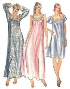 1980s Nightgown Pattern Loose Fit Night Gown Butterick 3559 Vintage Sewing Women's Misses Size Large 16 - 18 Bust 38 - 40 Inches