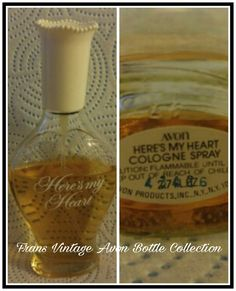 Vintage Avon Here's My Heart Cologne Spray Clear Glass Bottle Decanter
