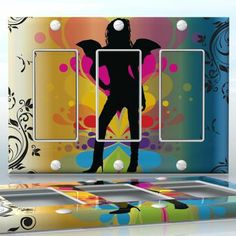 DIY Do It Yourself Home Decor - Easy to apply wall plate wraps | Urban Angel  Sexy angel on rainbow background  wallplate skin sticker for 3 Gang Decora LightSwitch | On SALE now only $5.95