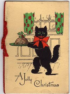 A Jolly Christmas (vintage Christmas card)  Vintage Christmas Card of a black cat carrying a Christmas Pudding. More information about my vintage  dakota_boo's photostream