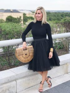Kennedy Center -- theatre outfit -- classy theatre outfit -- chic theatre outfit -- all black outfit -- tulle skirt -- tulle skirt outfit -- black tulle skirt -- black body suit -- classy black bodysuit outfit -- girls theatre outfit -- #tiffaniatbretonbay