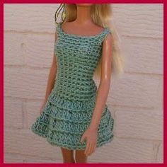 Crochet Toy Barbie Clothes Ravelry: Barbie's Dress pattern by linda Mary - Barbie Clothes Patterns, Crochet Barbie Clothes, Doll Clothes Barbie, Barbie Dress, Clothing Patterns, Crochet Dresses, Barbie Stuff, Crochet Doll Pattern, Crochet Dolls