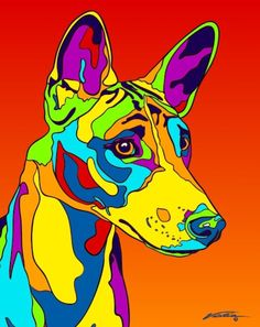 Multi-Color Basenji Matted Prints & Canvas Giclées. Hand painted and printed in USA by the artist Michael Vistia. Dog Breed: The Basenji is a breed of hunting dog. It was bred from stock that originat