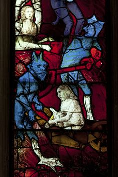 Demons and condemned souls Leaded Glass Windows, Stained Glass Lamps, Medieval Life, Medieval Art, Sleeping Beauty Ballet, Medieval Stained Glass, Fantastic Art, Stone Carving, Religious Art