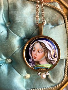 Vintage Spanish Blessed Mother Virgin Mary Enamel and 18K Gold Medal Pendant Religious Jewelry Catholic Gift Christian Amulet Talisman by SacredBarcelona on Etsy