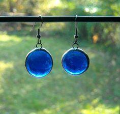 Blue Glass Jewel Earrings