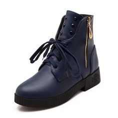 WeiPoot Women's PU Low-top Solid Zipper Low Heels Boots -- More info could be found at the image url.