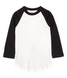 Baseballshirt | Weiß/Schwarz | Damen | H&M AT
