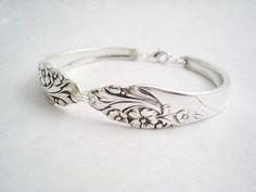 Silver Spoon Bracelet Silver Vintage Silverware Jewelry - EVENING STAR 1950