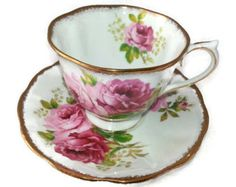 "Gorgeous vintage Royal Albert ""American Beauty"" footed tea cup and saucer"