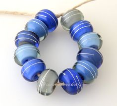 12 BLUE THUNDER blue grey silver Wrap white heart by taneres