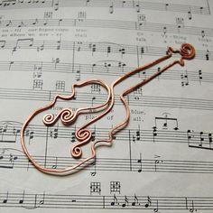 Violin copper bookmark di TheSalvagedEdge su Etsy, $16.00