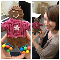 Lucy Wright and her pink jumper clad gingerbread man