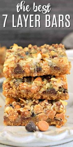 7 Layer Cookie Bars Recipe topped with coconut, pecans, chocolate and butterscotch. You'll love this easy Magic Bar recipe any time of year! Köstliche Desserts, Delicious Desserts, Dessert Recipes, Yummy Food, Bar Cookie Recipes, Easy Dessert Bars, Bar Recipes, Milk Recipes, Breakfast Recipes