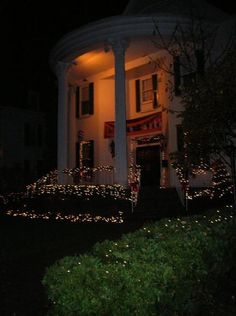 Chi Omega at Ohio with Christmas lights
