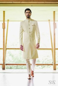 The Clic Off White Ss Homme Longer Bandhgala Ceremonial Festive Groom Wedding