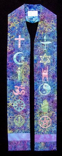 Interfaith Stole:  Symbols of world religions. Blue/violet batik with blue marblized lining. Symbols hand-painted in pearlescent hues.