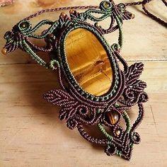 Macrame Necklace Pendant Cabochon Tiger Eye Stone Cotton Waxed Cord Handmade