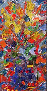 """Palette Knife Abstract Flower Painting """"Deranged"""" by Colorado Impressionist Judith Babcock"""