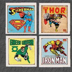 Set of (4) Vintage Superhero Coasters