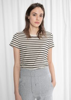 Other Stories image 1 of Striped Cotton Tee in Black