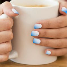 Light Blue And White Stripes Design Nail Art. The perfect touch for your fingernails..