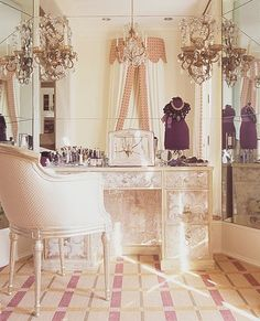 Soft & purple. Beautiful vanity area bathroom vanity pink plaid floor chandelier mirror soft dressing room