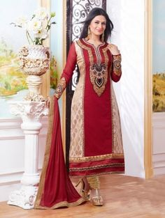 Maroon and Cream Cotton Suit with Embroidery Work