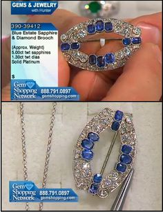 Estate Jewelry - Sapphire and Diamond Pin - Over 5 cts of sapphires with 1.8 ct in diamonds set in platinum