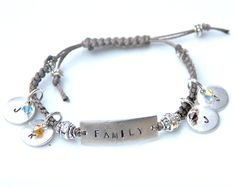 Personalized family of 4 bracelet with 4 tags for 2 parents and 2 kids with Swarovski crystals for birth months. Fabulous gift for your favorite mom, grandmother, aunt, sister, etc. Pumpkin Designs, Pewter Plates, Family Of 4, More And Less, Birth Month, Pocket Watches, Adjustable Bracelet, Metal Stamping, Necklaces