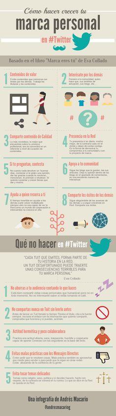 Hola: Una infografía sobre Cómo hacer crecer tu Marca Personal en Twitter. Vía Andrés Macario La infografía está basada el en libro Marca eres tu de Eva Collado Durán. Un saludo