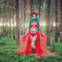 Beautiful @bluexastrid  Photo: genial @aneta.pawska  Lingerie Askasu  #astrid #blue #hair #red #fire #nature #warrior #pagan #occult #alternative #sexy #goth #fashion #darkfashion #photo #forest #elf #nimfa #fairytale #beauty #model #tattoo #harness #leather #hot