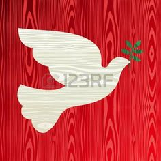 peace dove: Christmas wooden dove of peace silhouette greeting card background