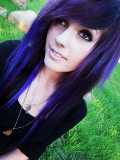 long black with purple scene hair    Facebook   Scene Hairstyless Photos - Purple Scene Hair   We Heart It