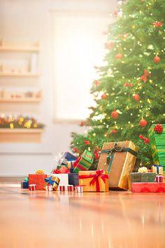 Christmas Morning, Christmas Tree, Gift Wrapping, Table Decorations, Holiday Decor, Gifts, Home Decor, Xmas, Teal Christmas Tree