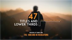 This pack is a create Pack to have in your tool box.  You'll have a wide variety of Titles and Lower Thirds to use in several projects.