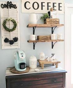 Coffee Bars In Kitchen, Coffee Bar Home, Home Coffee Stations, Coffe Bar, Coffee Area, Coffee Nook, Coffee Corner, Home Bar Designs, Bars For Home