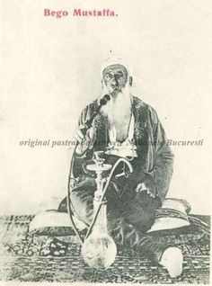 BU-F-01073-5-00396-14 Bego Mustaffa, turc din Ada Kaleh, fumând narghilea, s. d. (sine dato) (niv.Document) Dam Construction, Small Island
