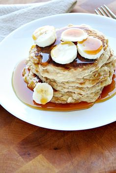 Oatmeal Peanut Butter and Banana Pancakes. I am about to make these in the morning!