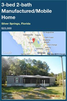 3-bed 2-bath Manufactured/Mobile Home in Silver Springs, Florida ►$23,000 #PropertyForSale #RealEstate #Florida http://florida-magic.com/properties/82133-manufactured-mobile-home-for-sale-in-silver-springs-florida-with-3-bedroom-2-bathroom