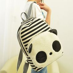 stacy bag hot sale popular girls cartoon panda canvas backpack female casual stripes travel bag school bag children backpack $10.00