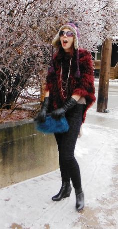 Warm Fuzzy Feeling! Poncho from #Winners + pants from @Smart Set. Read more!: http://www.thepurplescarf.ca/2014/01/Fashion-Style.Outfit-Winter.Warm-Fuzzy-Feeling.html #fashion #style