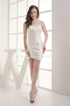 Strapless Sheath Appliqued And Ruched Cocktail Dress