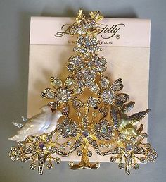 Signed KIRKS FOLLY Rhinestone Partridge in a Pear Tree Christmas Brooch Pin